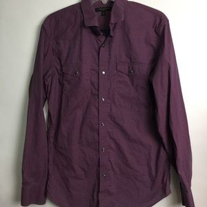 Banana Republic Blue Pink Button Up Shirt Size M